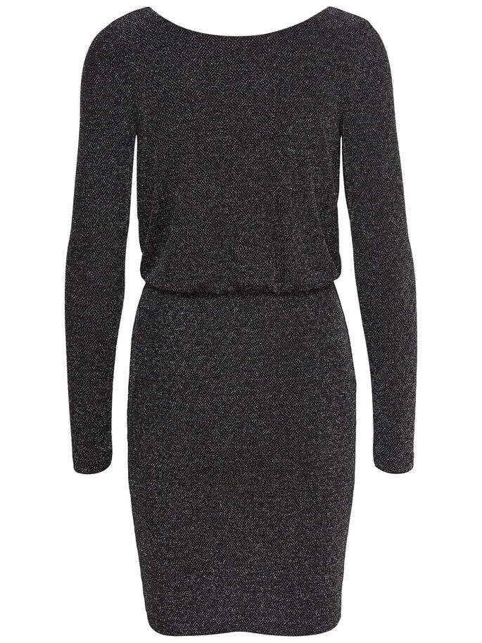 GLITTER LONG SLEEVED DRESS, Black, large