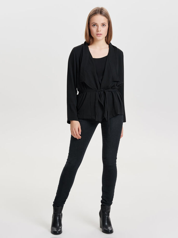 SHORT DRAPY BLAZER, Black, large