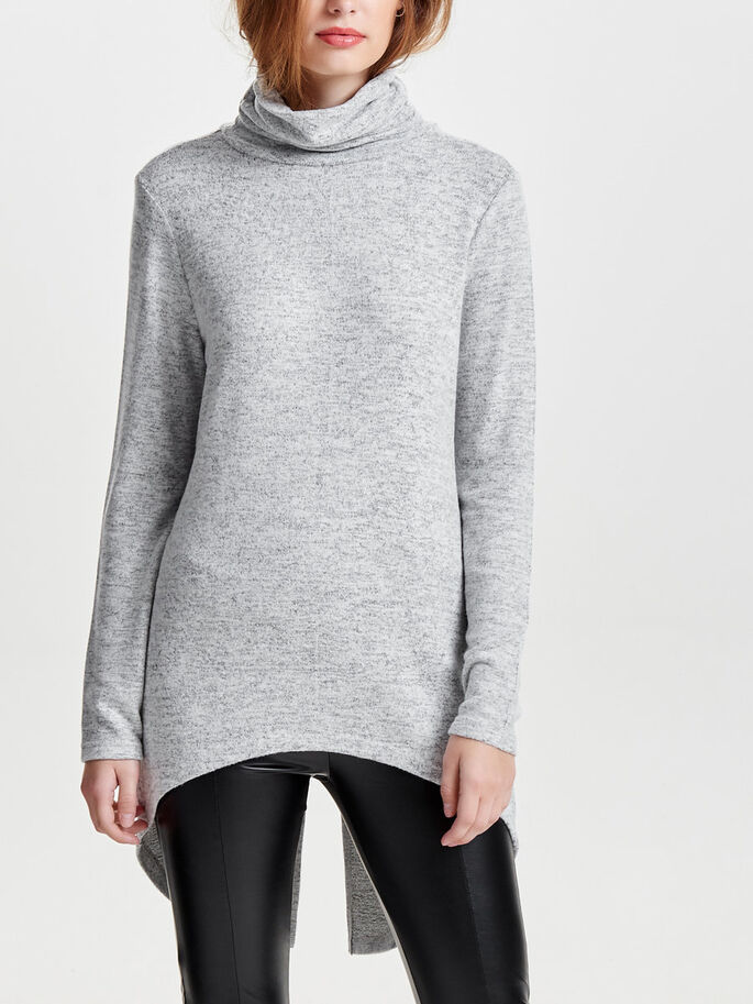 LANG STRIKKET PULLOVER, Light Grey Melange, large