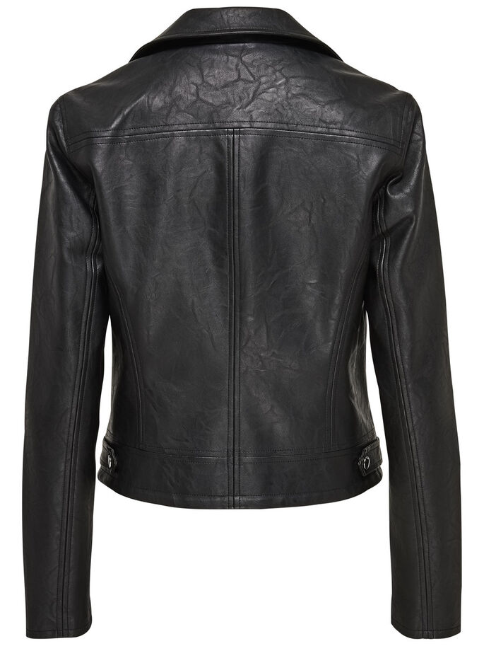 BIKER LEATHER JACKET, Black, large