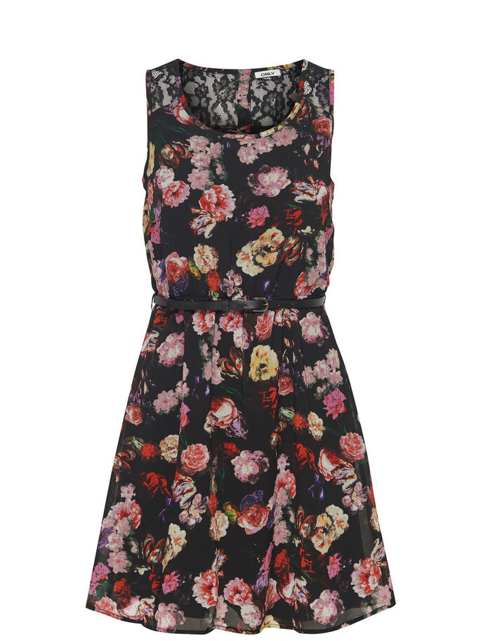 SHORT SLEEVELESS DRESS, Black, large