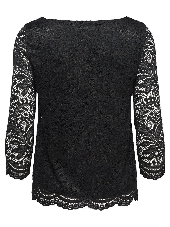 KANTEN TOP MET 3/4 MOUWEN, Black, large