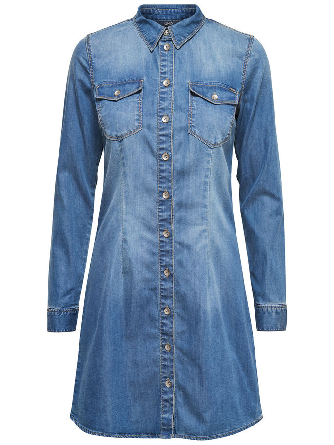 LANGE MOUW DENIM JURK, Medium Blue Denim, large