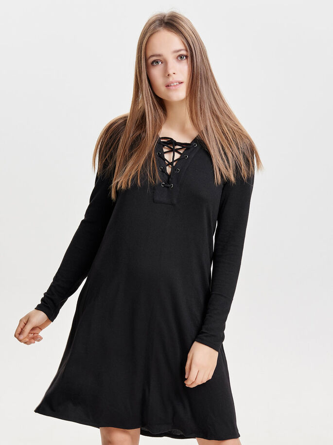 LACE-UP LONG SLEEVED DRESS, Black, large