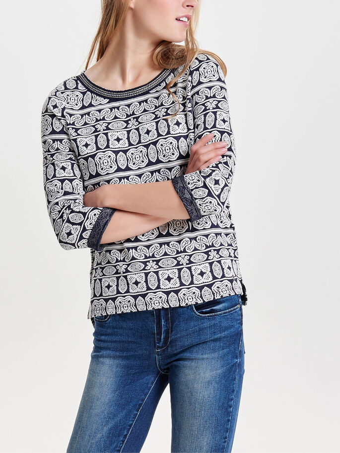 PATTERNED 3/4 SLEEVED TOP, Night Sky, large