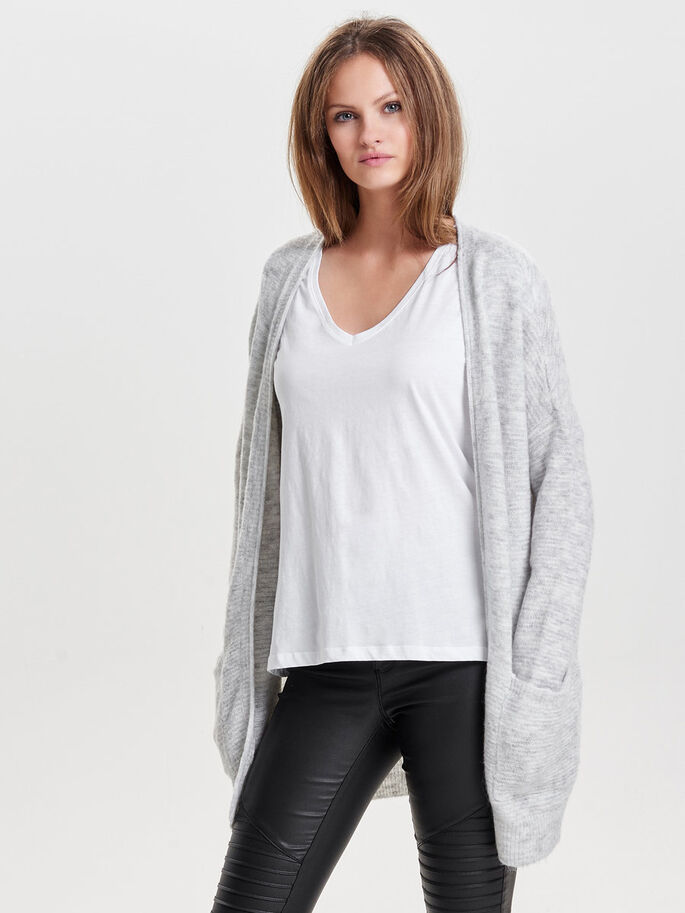AMPLE CARDIGAN EN MAILLE, White, large