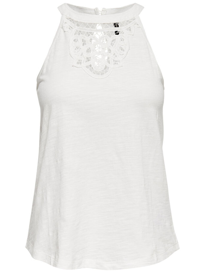 RAW LACE SLEEVELESS TOP, Cloud Dancer, large