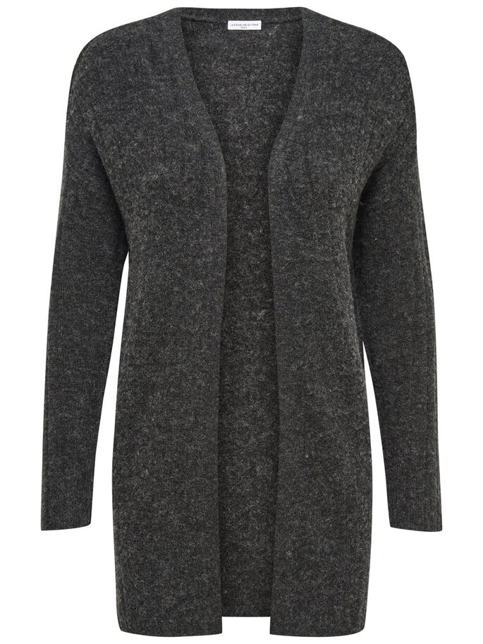 LANGÄRMELIGER STRICK-CARDIGAN, Dark Grey Melange, large