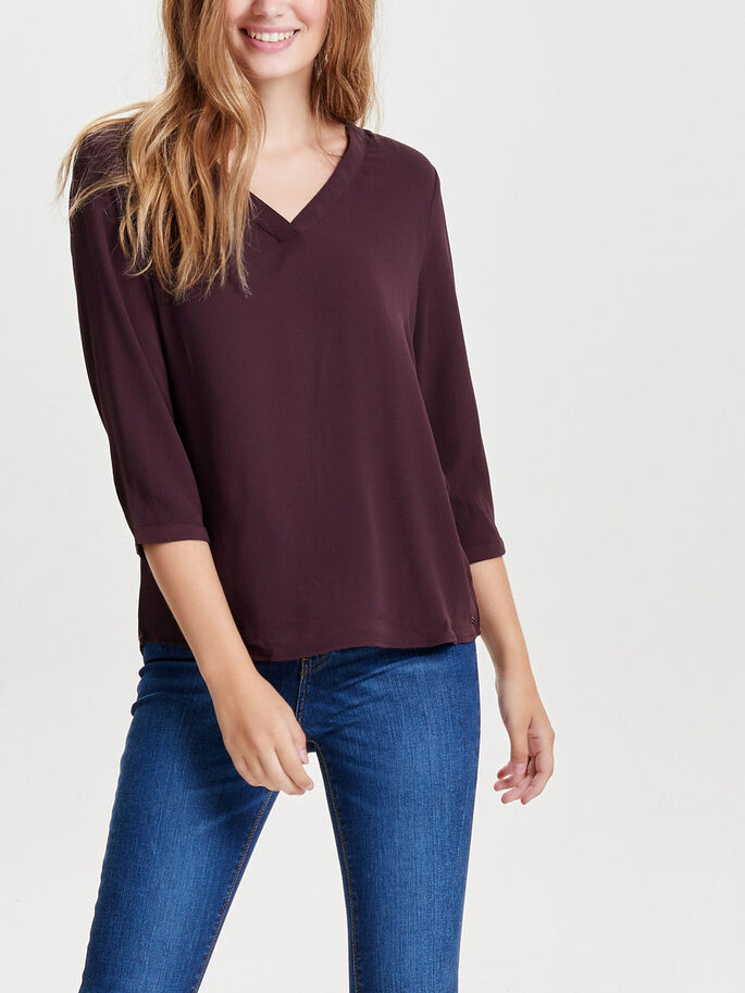 LOOSE 3/4 SLEEVED TOP, Fudge, large