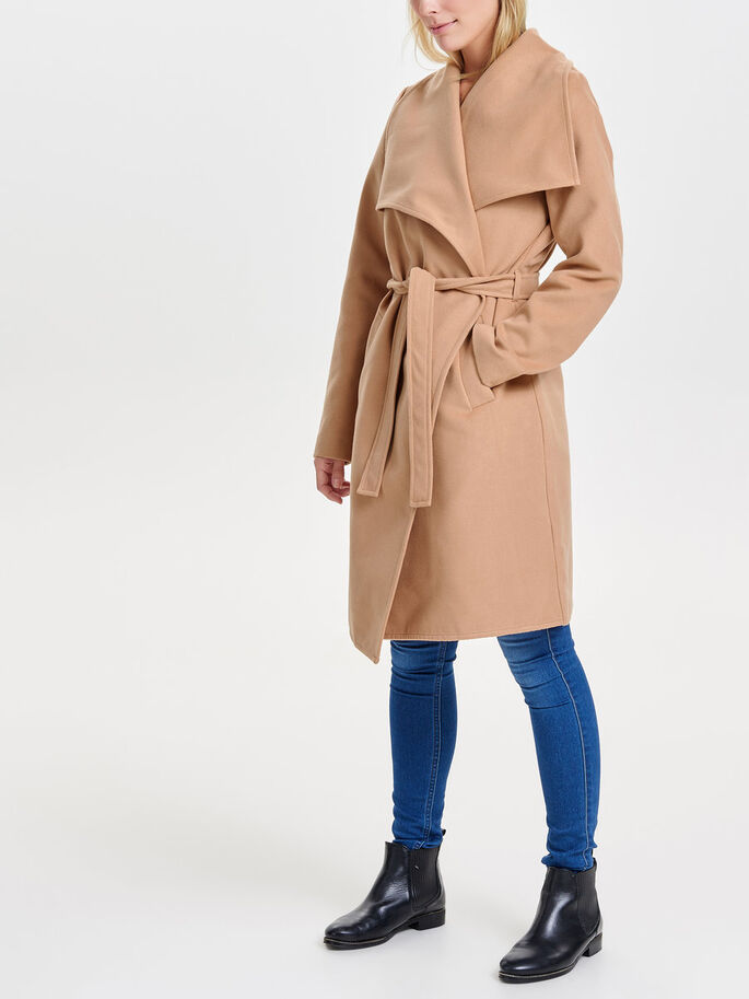 LONG DRAPY TRENCHCOAT, Camel, large