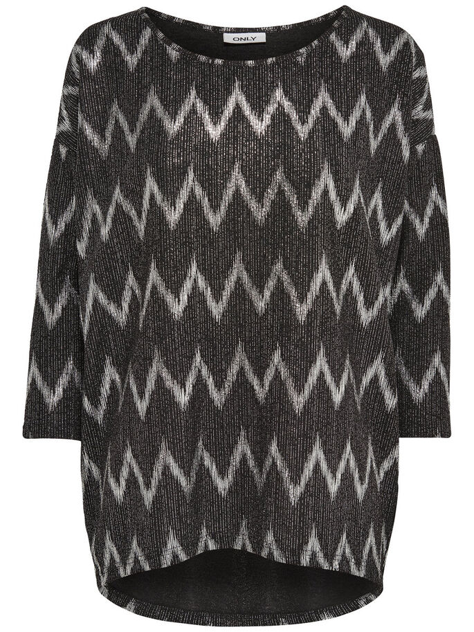 ZIGZAG TOP MANCHES 3/4, Black, large