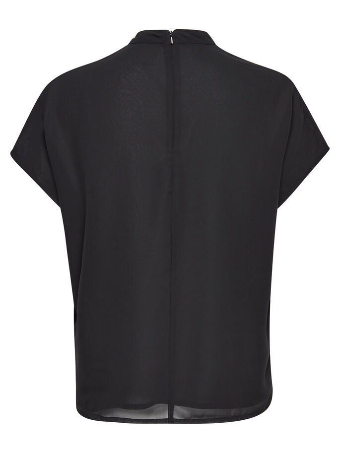 PAILLETTEN TOP MET KORTE MOUWEN, Black, large