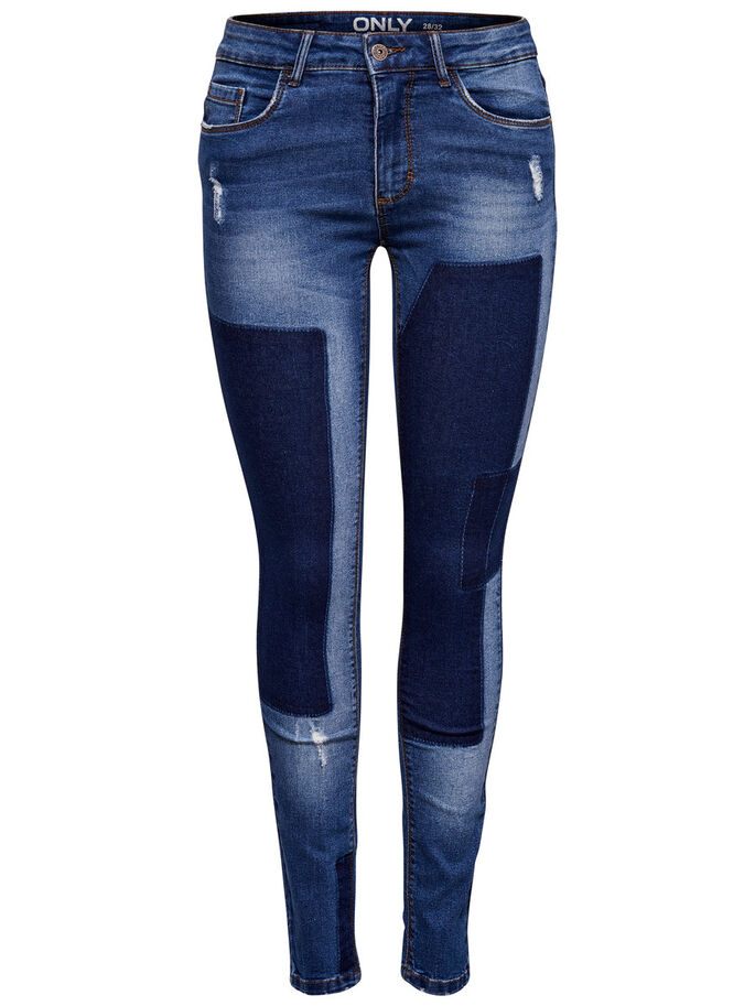 CARMEN REG PATCH SKINNY FIT-JEANS, Dark Blue Denim, large