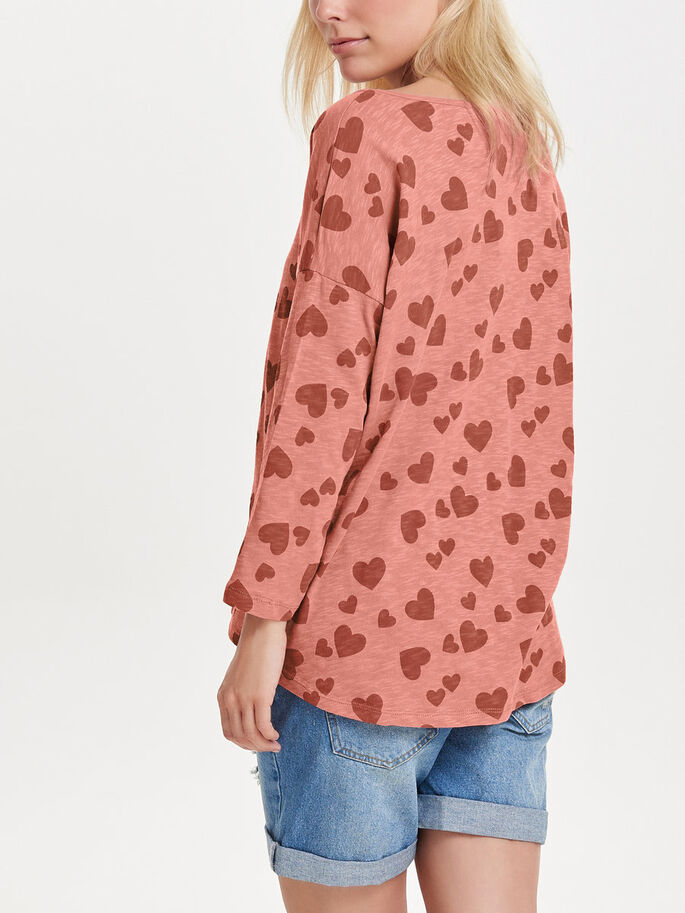 LOOSE 3/4 SLEEVED TOP, Ash Rose, large