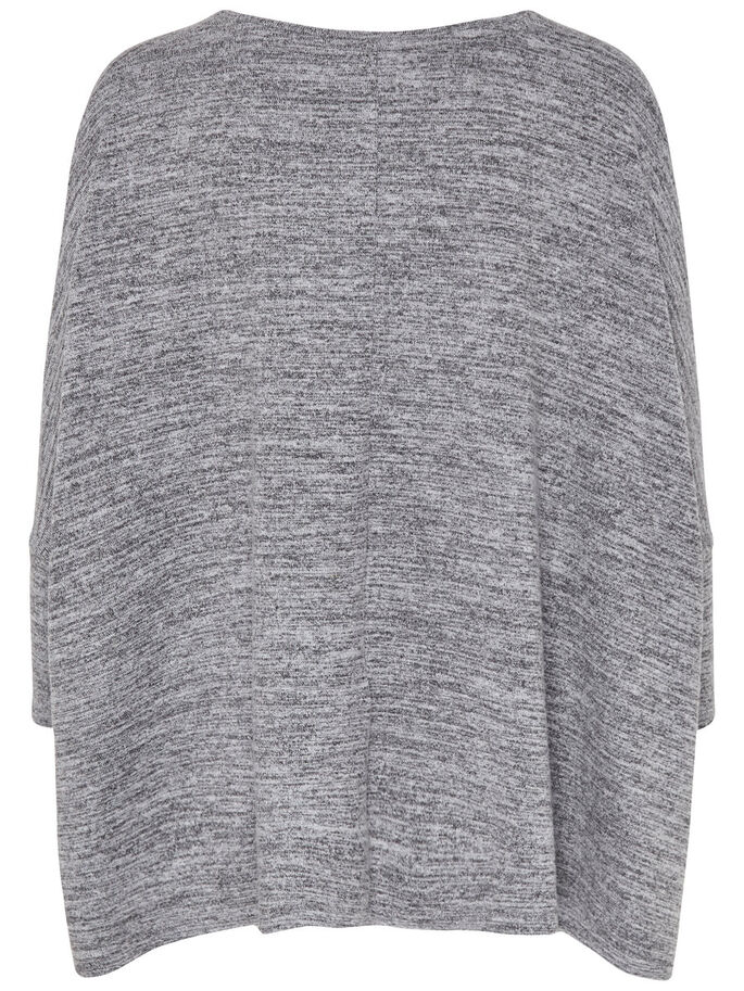 OVERSIZED TOP MED 3/4-ÆRMER, Light Grey Melange, large