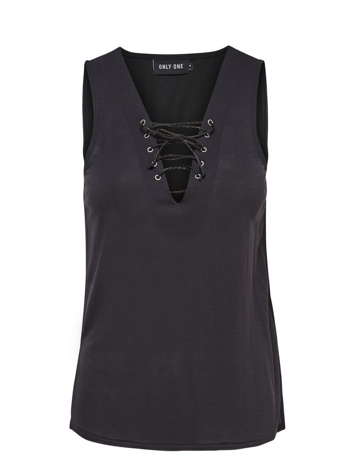 LACE-UP SLEEVELESS TOP, Black, large