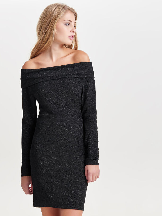 OFF-SHOULDER DRESS, Black, large