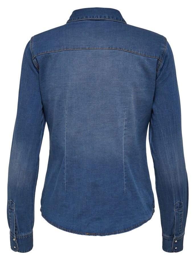 GETAILLEERDE SPIJKERBLOUSE, Light Blue Denim, large
