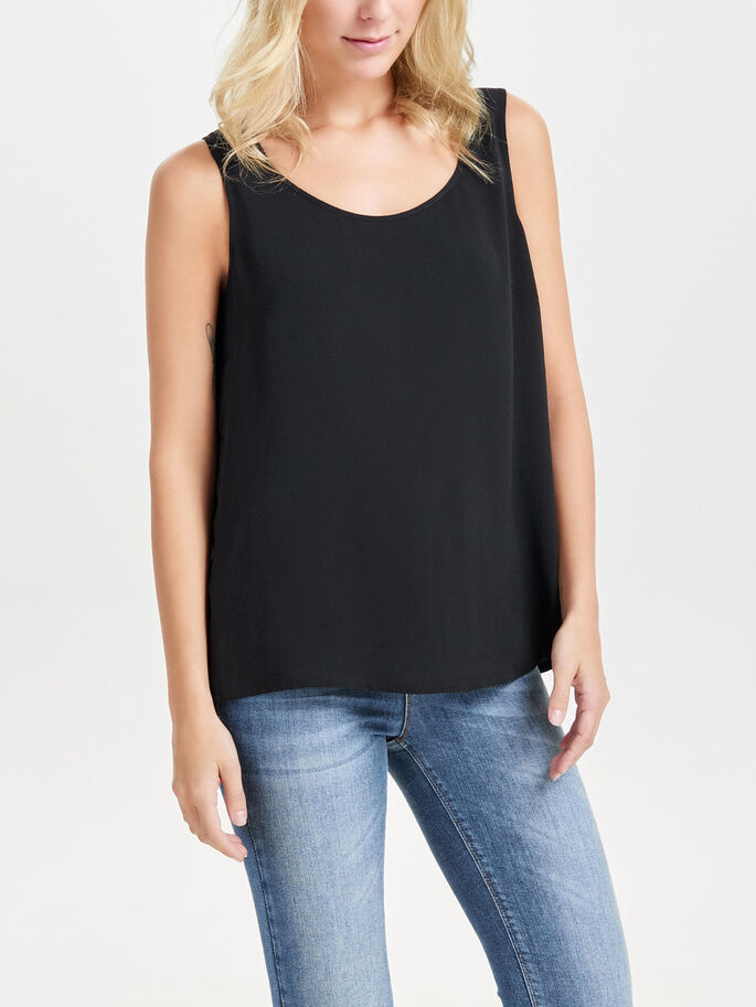 SOLID SLEEVELESS TOP, Black, large