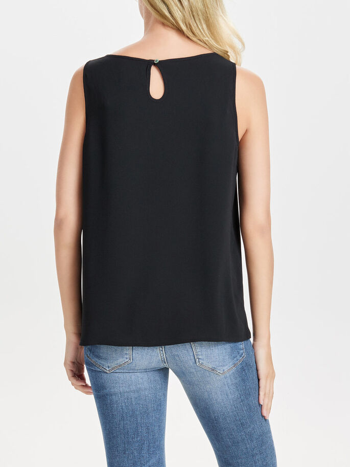 COULEUR UNIE TOP SANS MANCHES, Black, large