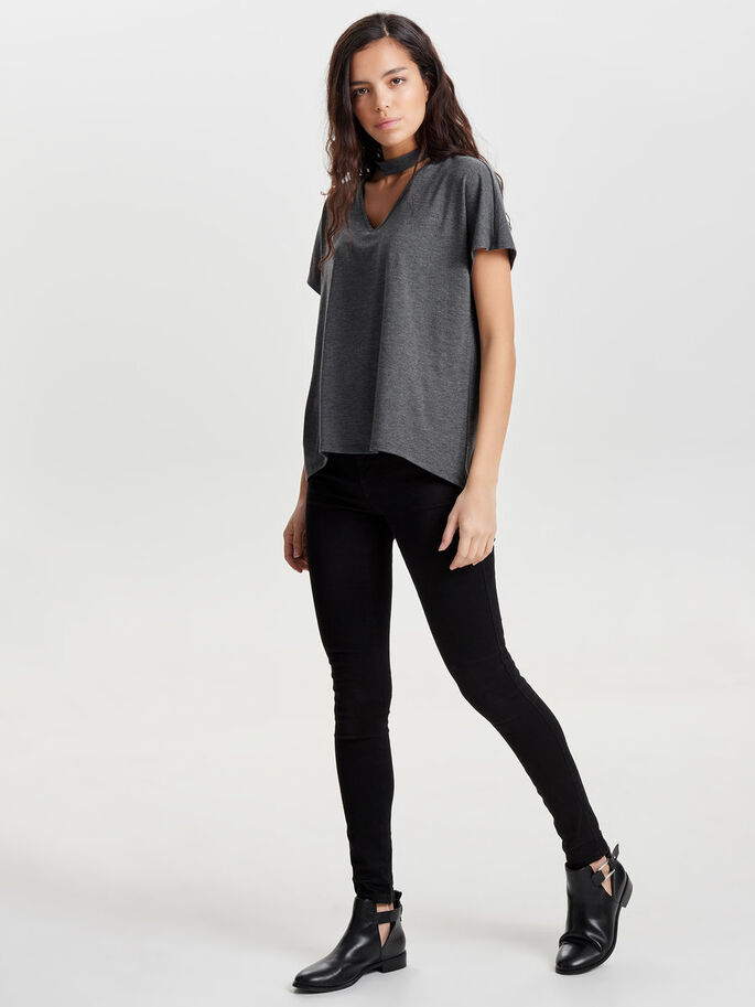 DETAILED SHORT SLEEVED TOP, Dark Grey, large