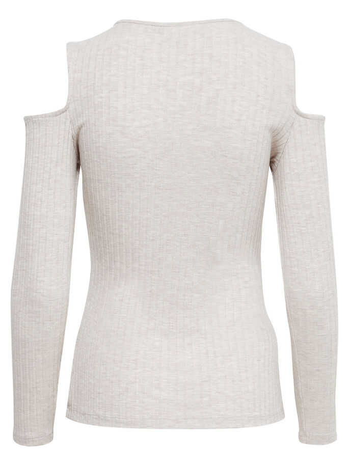 COLD-SHOULDER LANGERMET TOPP, Oatmeal, large