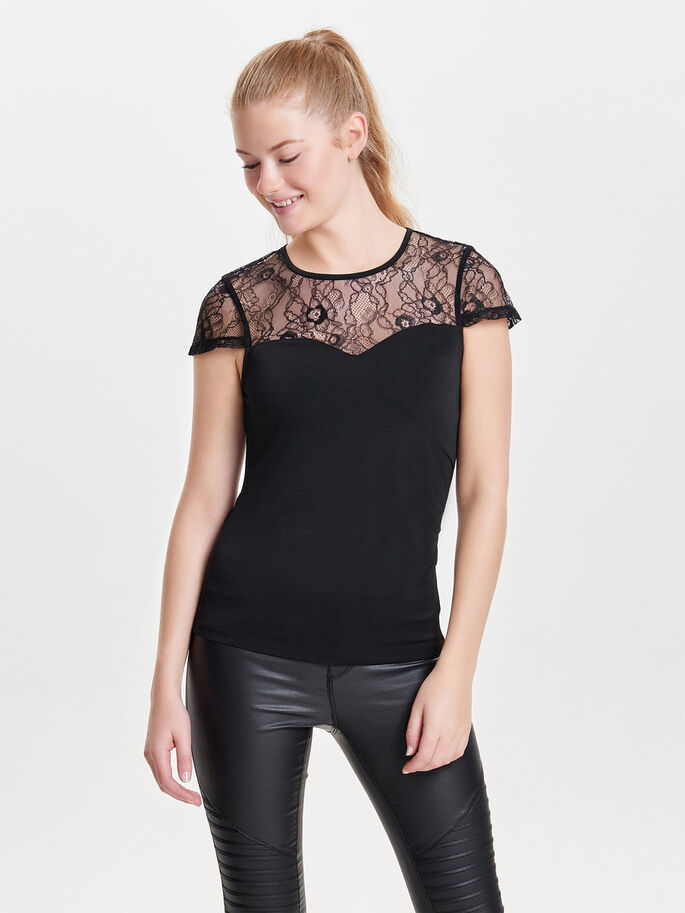 BLONDE TOP MED KORTE ÆRMER, Black, large