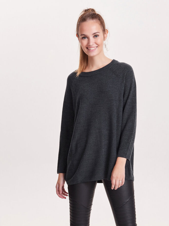 LOOSE KNITTED TOP, Dark Grey Melange, large