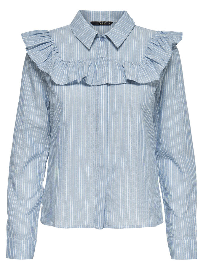 FRILL LONG SLEEVED SHIRT, Cashmere Blue, large