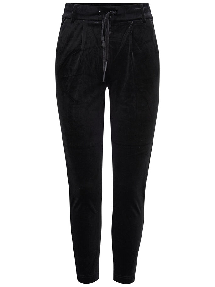 VELOUR TROUSERS, Black, large