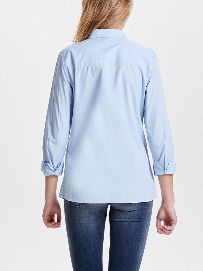 SOLID LONG SLEEVED SHIRT, Cashmere Blue, large