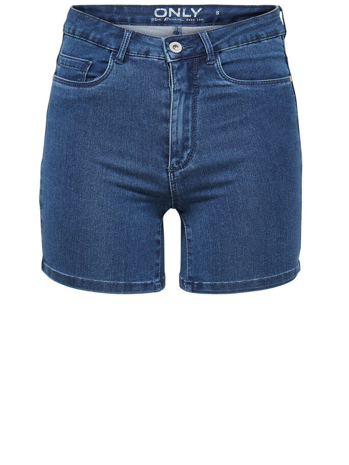 ROYAL HIGH-WAIST DENIM SHORT, Medium Blue Denim, large