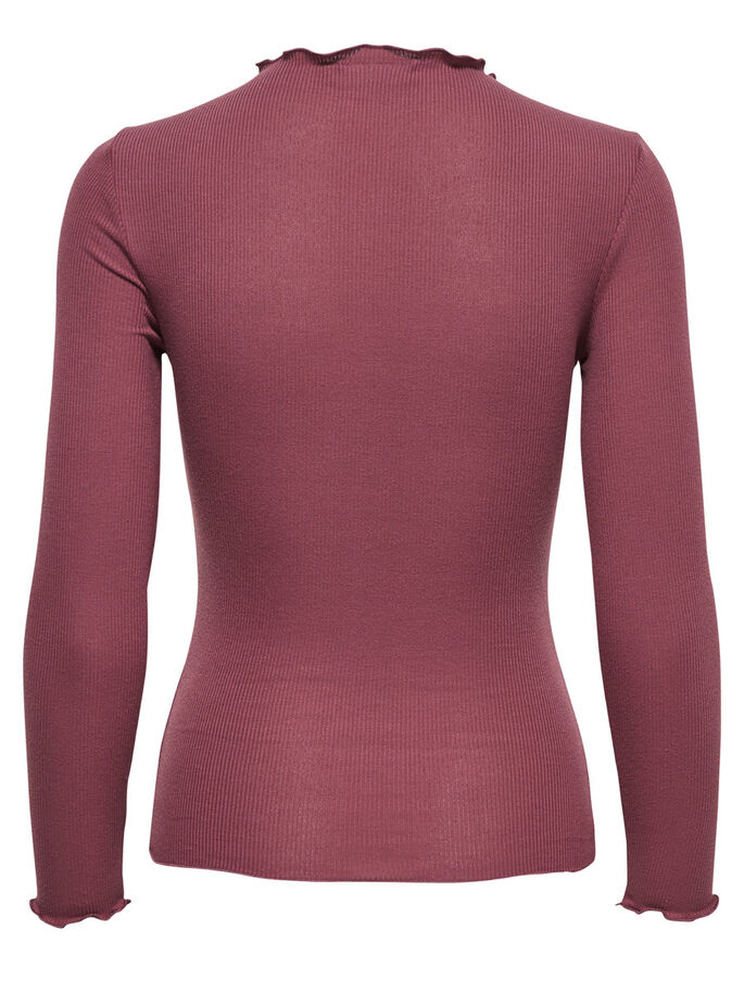 RIB TOP MED 3/4-ÆRMER, Mesa Rose, large