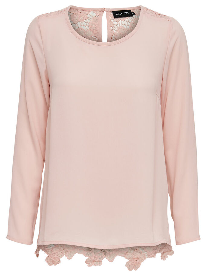 BLONDE TOP MED LANGE ÆRMER, Rose Smoke, large