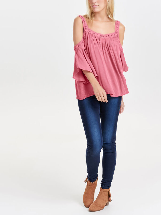 COLD-SHOULDER SHORT SLEEVED TOP, Rapture Rose, large