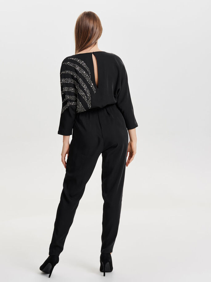 7/8 SLEEVED JUMPSUIT, Black, large