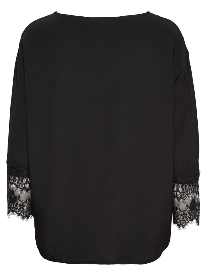 LACE DETAIL LONG SLEEVED TOP, Black, large