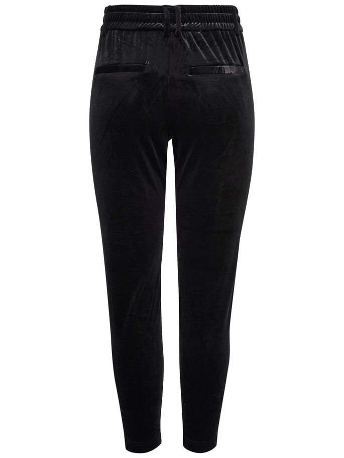 VELOURS BROEK, Black, large