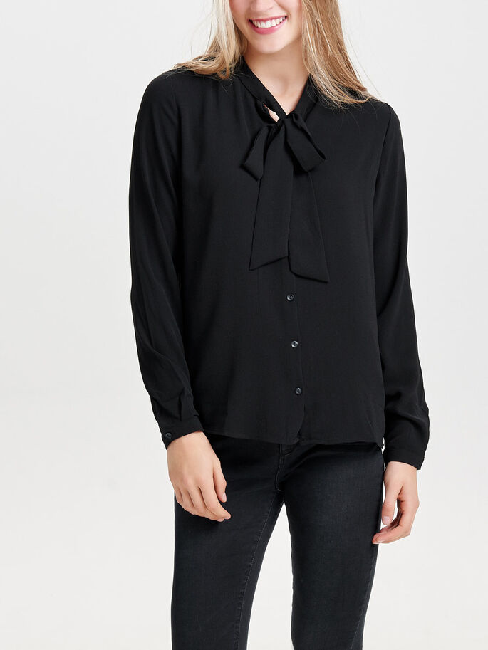 BOW LONG SLEEVED TOP, Black, large