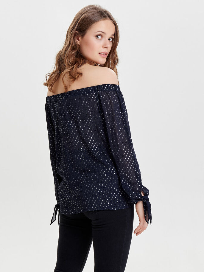 OFF-SHOULDER TOP MET LANGE MOUWEN, Night Sky, large