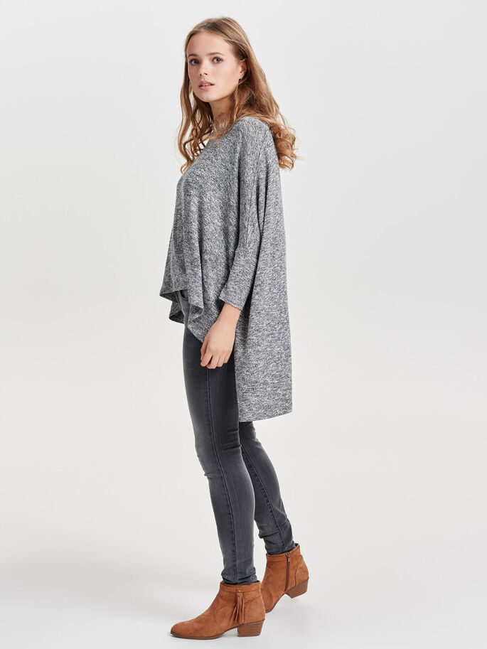 OVERSIZE STRIKKET TOPP, Light Grey Melange, large