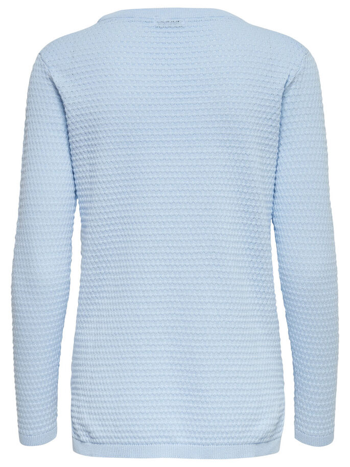 SOLID KNITTED PULLOVER, Cashmere Blue, large