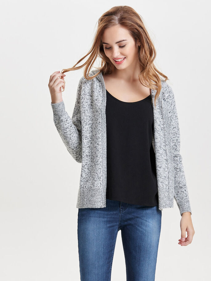 LØS STRIKKET CARDIGAN, Cloud Dancer, large