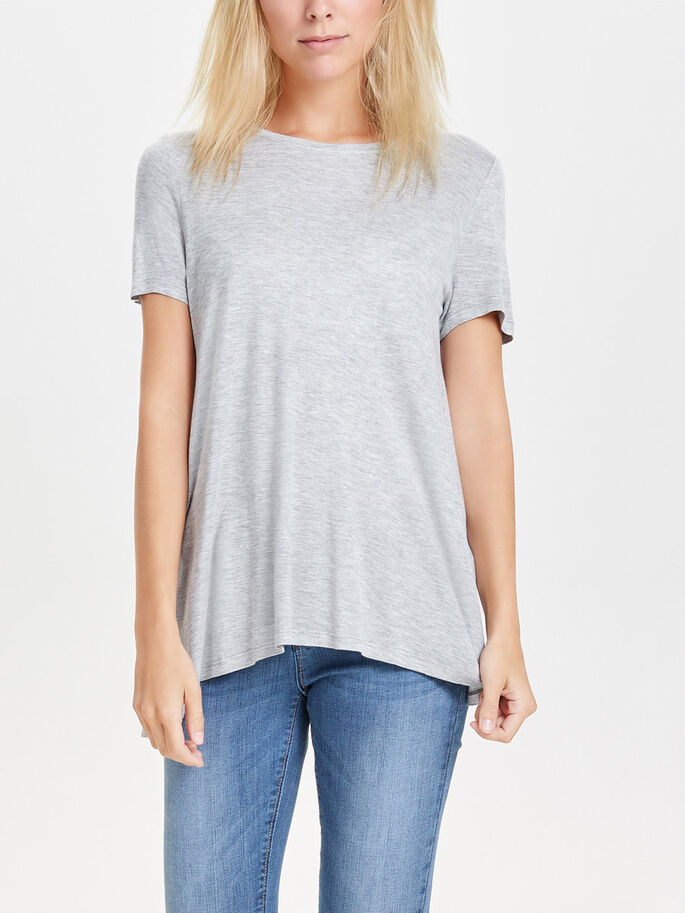 LOOSE SHORT SLEEVED TOP, Light Grey Melange, large