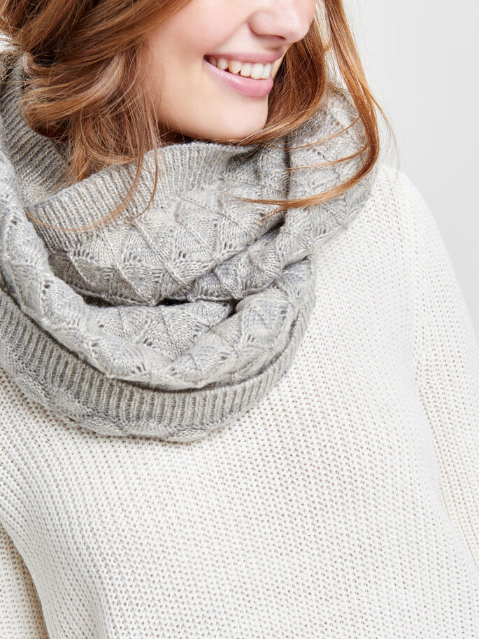 KNITTED TUBE SCARF, Light Grey Melange, large