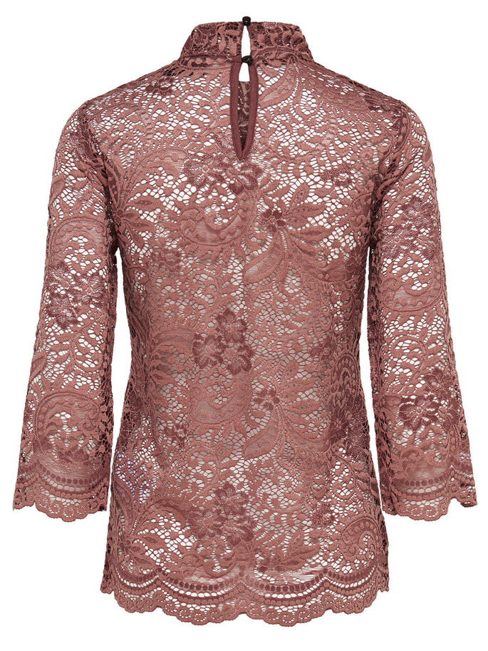 LACE 3/4 SLEEVED TOP, Cognac, large