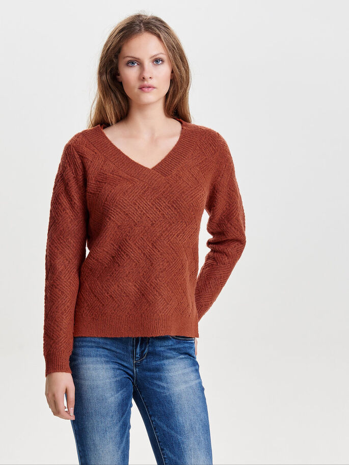LOOSE KNITTED PULLOVER, Arabian Spice, large