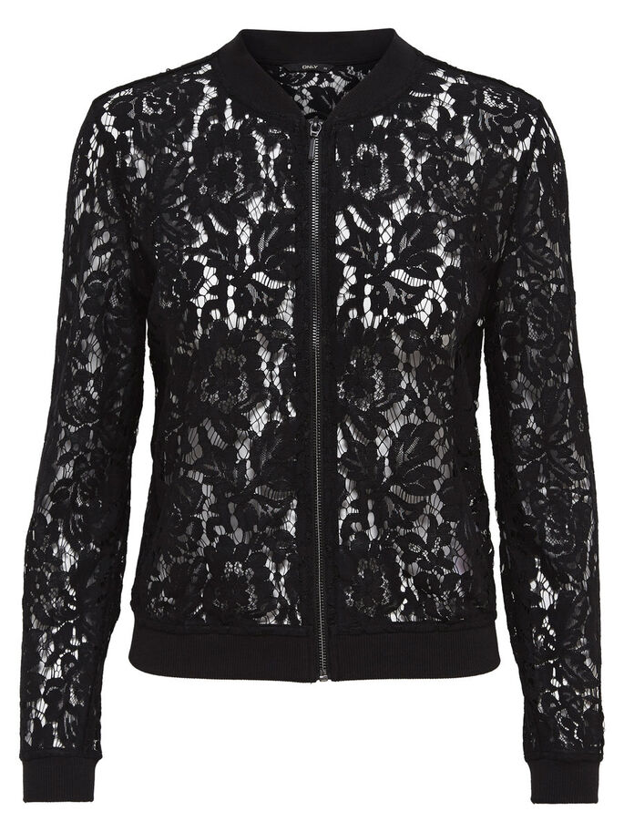 LACE BOMBER JACKET, Black, large