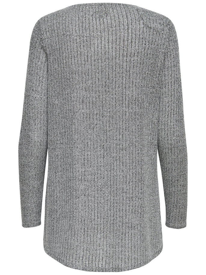 TWIST KNITTED PULLOVER, Light Grey Melange, large