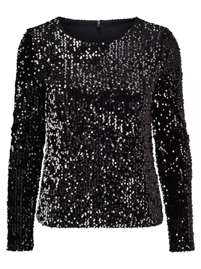 SEQUINS TOP À MANCHES LONGUES, Black, large